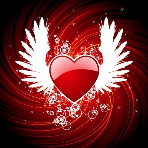Valentinstagillustration mit Herzen und Flügeln.