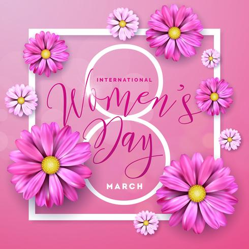 Happy Womens Day Floral Greeting Card Design. International Female Holiday Illustration with Flower and Typography Letter Design on Pink Background vector