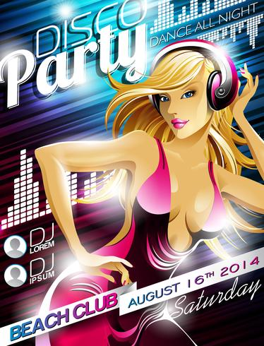 Vector Disco Party Flyer Design with sexy girl and headphone