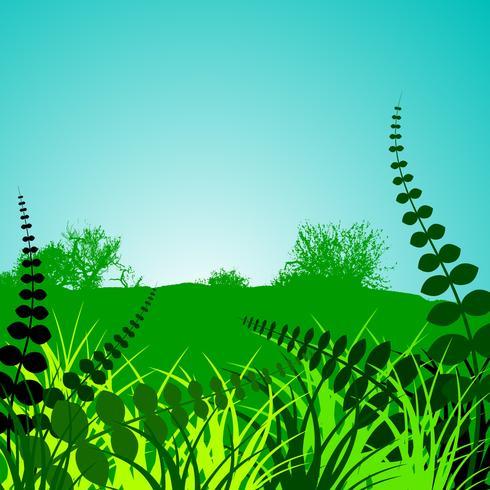 lentelandschap met groene bloemen siermotieven