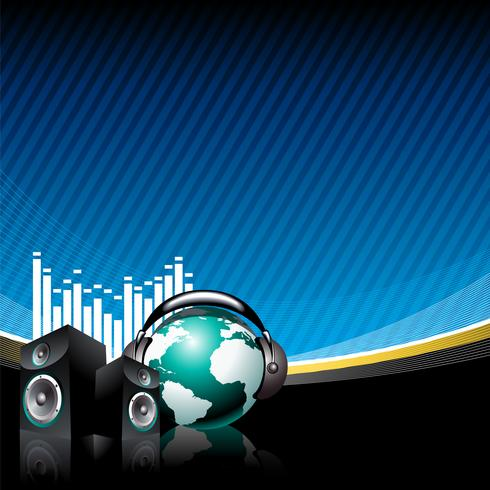 music illustration with speaker and globe with headphone on blue background vector