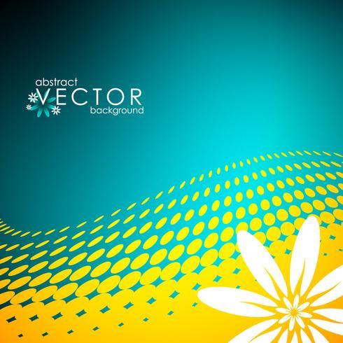 illustration vectorielle de printemps avec fleur sur fond de cercle