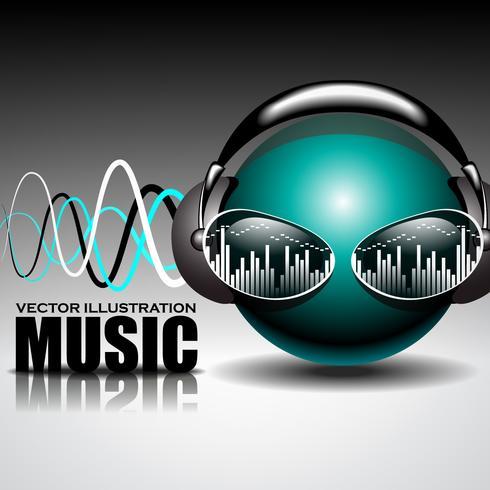 muziek illustratie met hoofdtelefoon op balhoofd