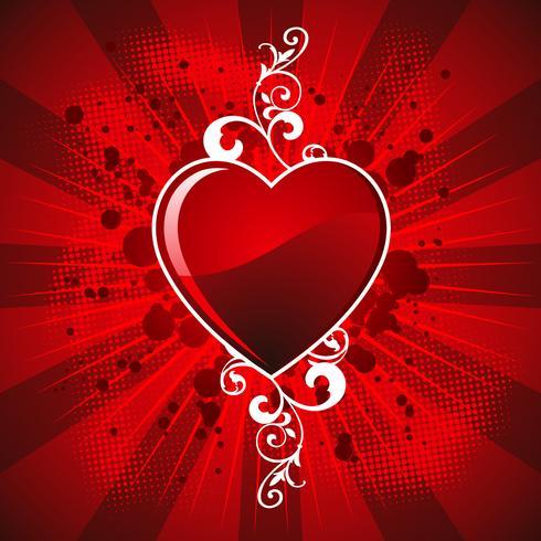 De dagillustratie van de valentijnskaart met glanzend hartsymbool