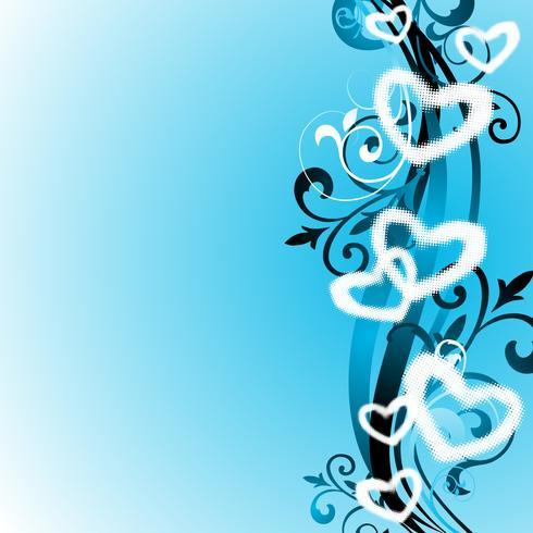 Illustrazione di San Valentino con simboli del cuore e motivo floreale.