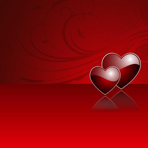 Ilustración del día de San Valentín con corazones rojos brillantes.
