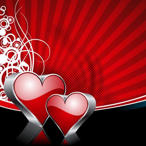 Illustrazione di San Valentino con simboli cuore lucido su sfondo rosso.