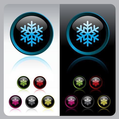 Conjunto de botones de copo de nieve brillante.