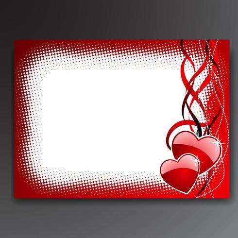 Illustrazione di San Valentino con cuori rossi lucidi.