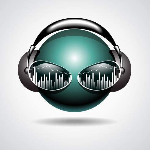 music illustration with headphone on ball head