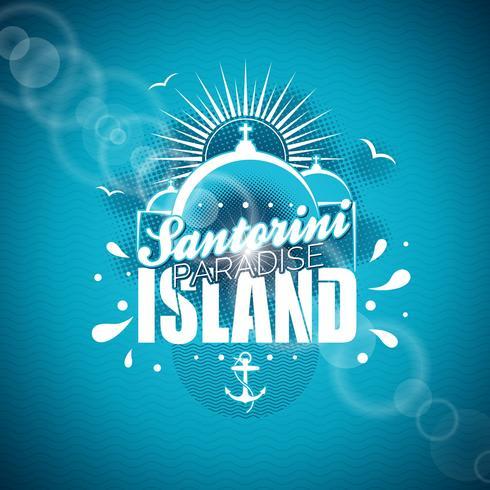 Illustration de Santorini Paradise Island avec la conception typographique sur fond bleu.