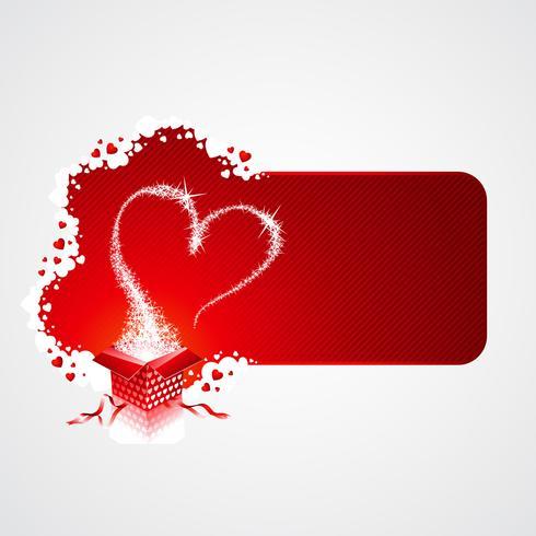 Ilustración del día de San Valentín con caja de regalo mágico
