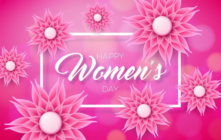 Ontwerp van de de groetkaart van gelukkige vrouwen het bloemenontwerp