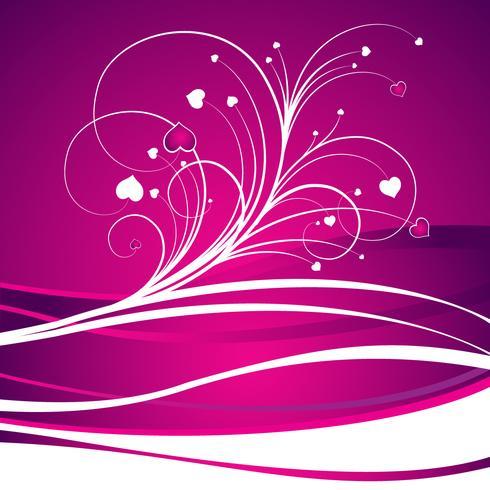 illustrazione di San Valentino con un bel focolare su sfondo viola