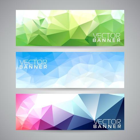 Triângulos geométricos de vetor banner conjunto de plano de fundo