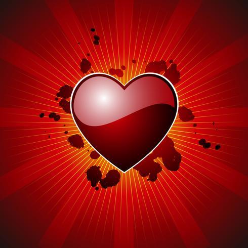 Ilustración del día de San Valentín con hermoso hogar sobre fondo rojo