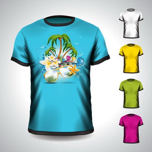 La maglietta ha impostato su un tema di vacanza estiva con la palma.