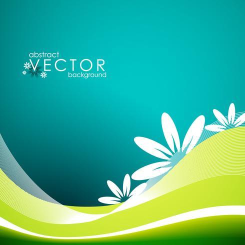 Vector ilustración de primavera con flores sobre fondo azul