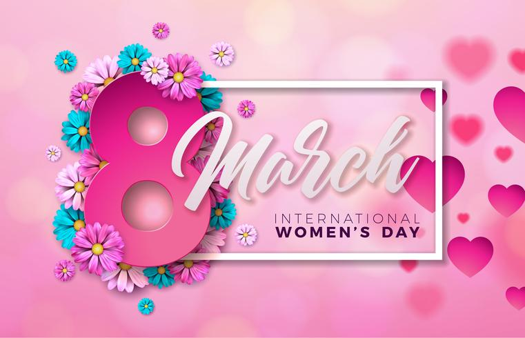 8 mars. Carte de voeux Floral Happy Womens Day