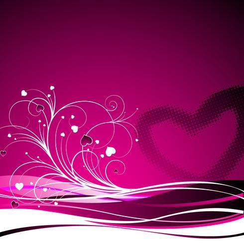 Ilustración del día de San Valentín con símbolos de corazón y motivos florales.
