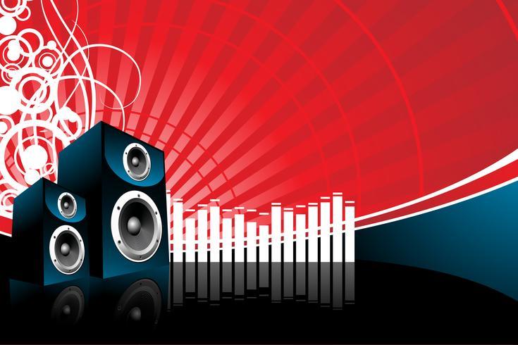 illustrazione di musica con l'altoparlante su sfondo rosso