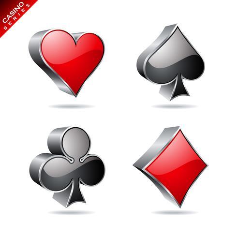 Elemento de juego de una serie de casino con símbolos de poker.