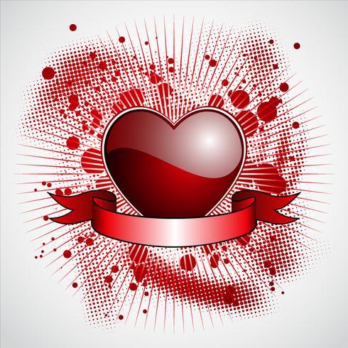 Valentinstagillustration mit glattem rotem Herzen und Band
