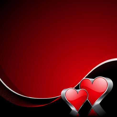 Valentinstagillustration mit glatten roten Herzen.