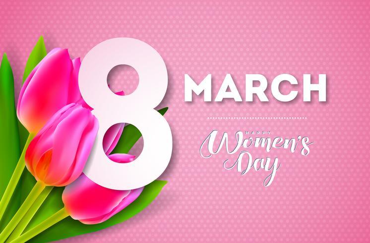 Ejemplo del día de las mujeres felices con el ramo del tulipán y la letra de la tipografía del 8 de marzo en fondo rosado. Diseño floral de primavera de vector