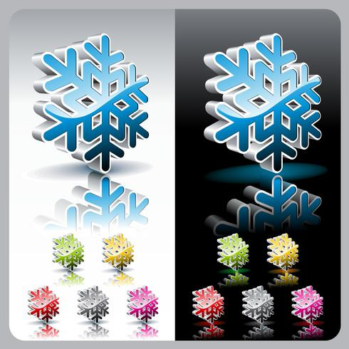 Insieme brillante del bottone del fiocco di neve 3d.