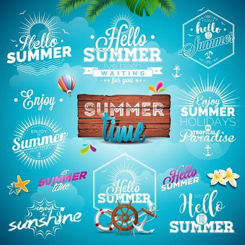 Ilustração de tipografia de verão com sinais e símbolos em fundo azul