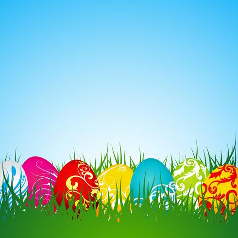 Easter illustration with painted eggs vector