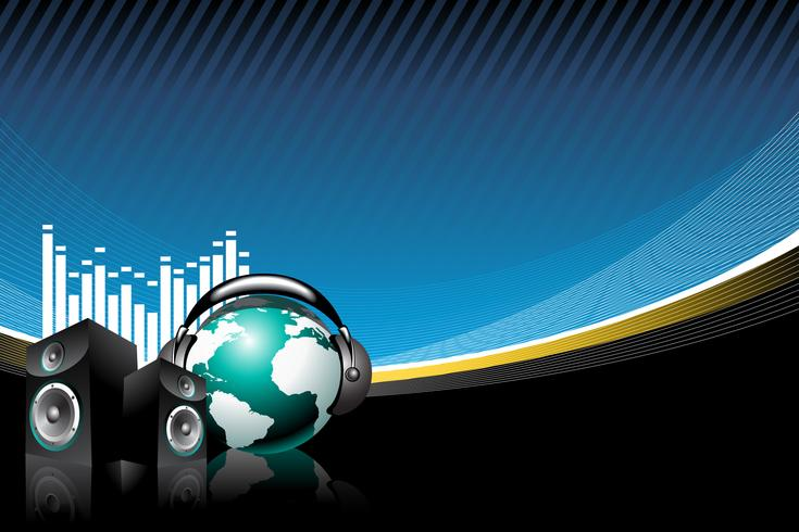 musik illustration med högtalare och jordklot med hörlurar.