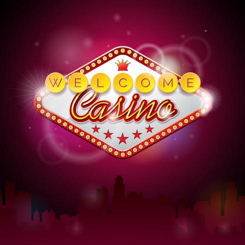 Illustration vectorielle sur un thème de casino avec affichage de l'éclairage vecteur