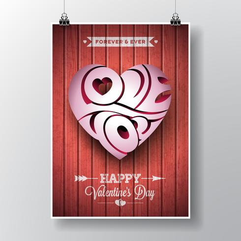 Thème de la Saint-Valentin avec conception de coeur typographique 3d Love You vecteur