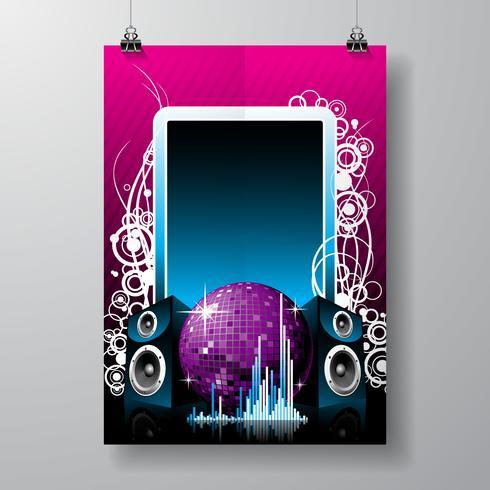 Ilustración vectorial para el tema musical con altavoces y bola de discoteca en el espacio de texto.