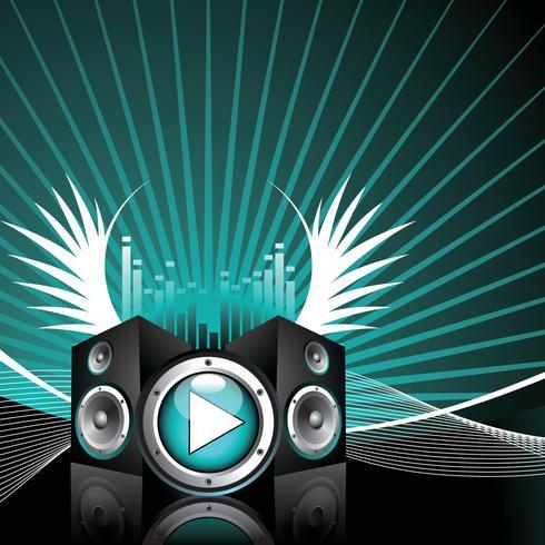 ilustração vetorial para tema musical com alto-falantes e asa