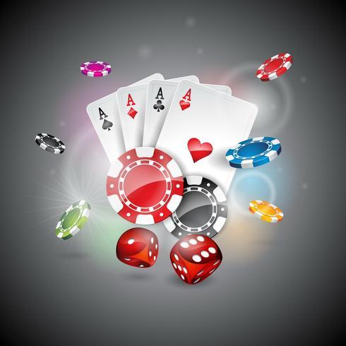 Kasinothema mit Farbe, die Chips und Pokerkarten auf glänzendem Hintergrund spielt.