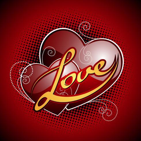 De dagillustratie van de valentijnskaart met glanzende rode harten