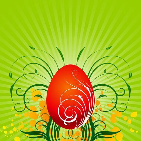 Vector a ilustração de Páscoa com ovo pintado