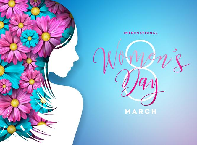 Lycklig kvinna dag blom- hälsningskortdesign