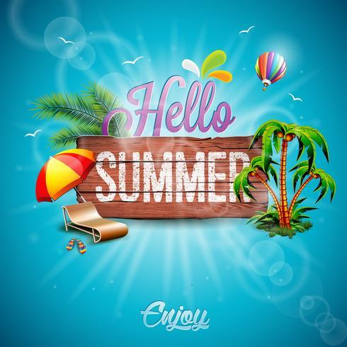 Vector Hola ilustración tipográfica de vacaciones de verano con plantas tropicales y flores