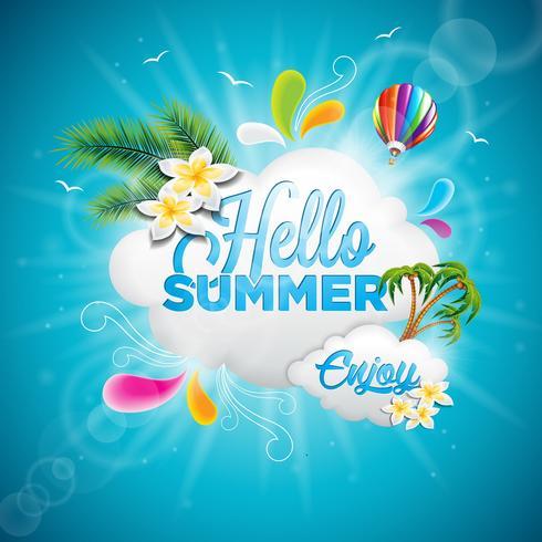 Vector Hola ilustración tipográfica de vacaciones de verano con plantas tropicales