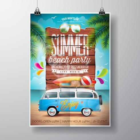 Summer Beach Party Flyer Design con furgoneta de viaje y tabla de surf