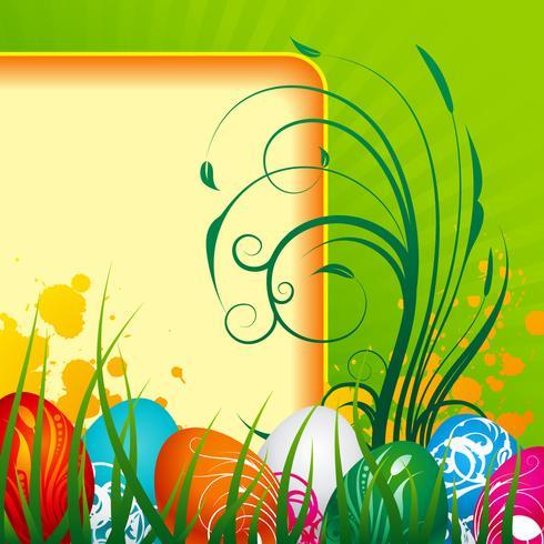 Ilustração de Páscoa com ovos pintados