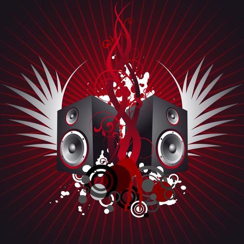 Musikillustration mit Flügel und Lautsprechern