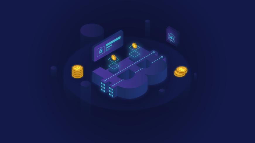 Isometrische glühende Bitcoin Blockchain Illustration