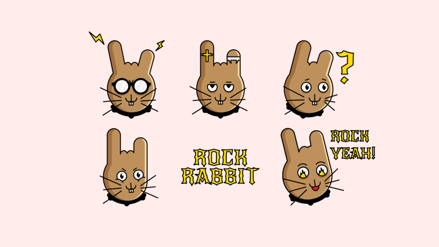 Pacote de etiqueta de coelho de Rock dos desenhos animados