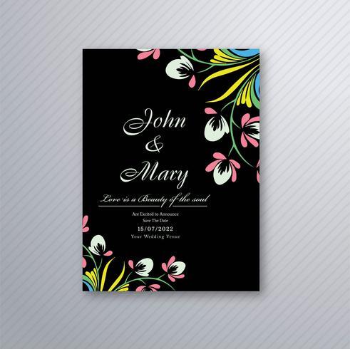 Carte d'invitation de mariage magnifique avec motif floral coloré
