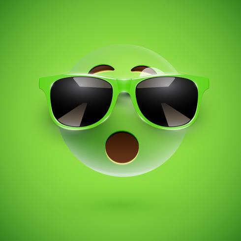 Smiley 3D de alto nivel con gafas de sol sobre un fondo colorido, ilustración vectorial